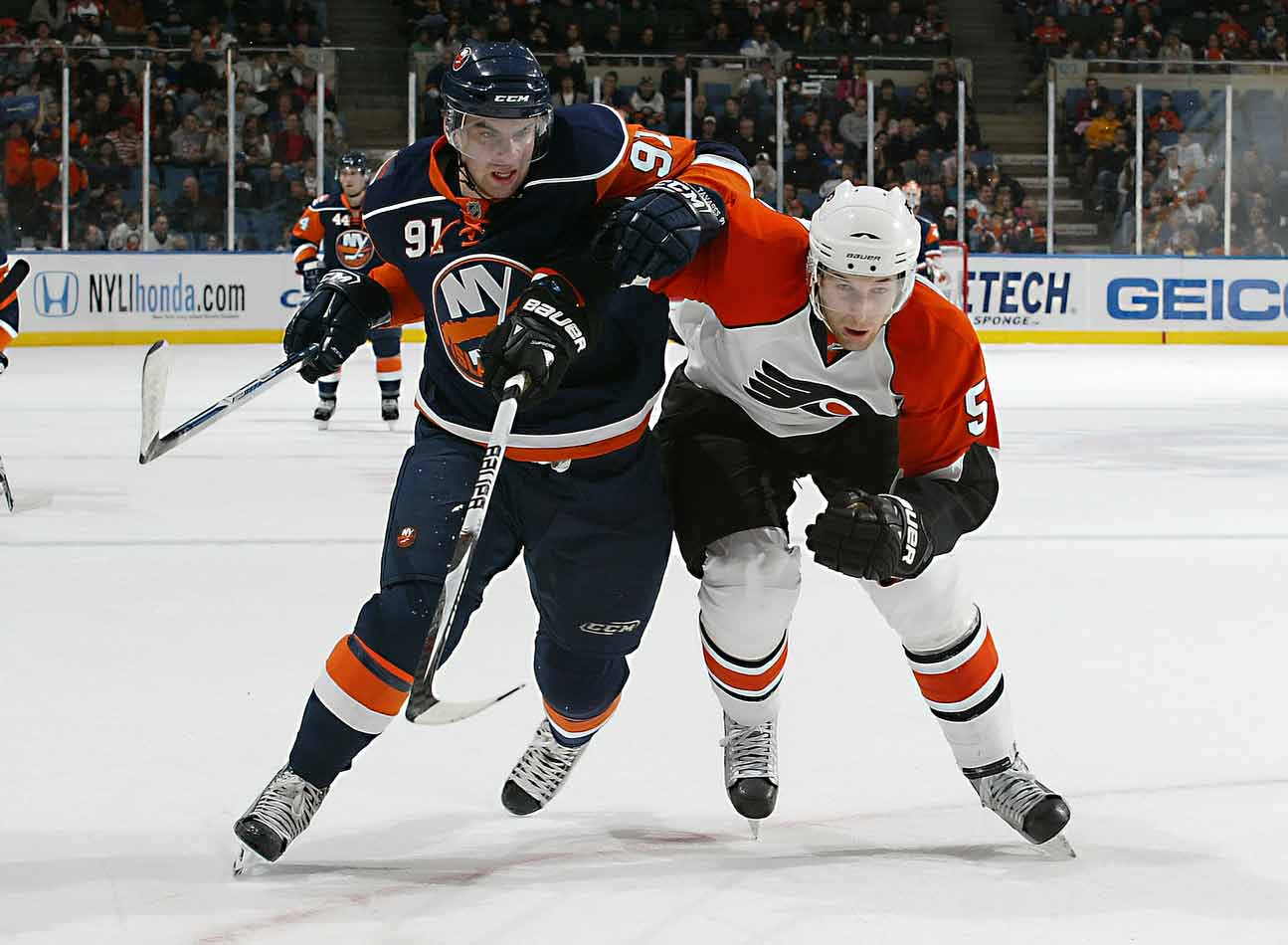 """The first player to be given """"exceptional"""" status by the OHL (making him eligible to play a year early at 15), Tavares broke Wayne Gretzky's league mark for goals by a 16-year-old, with 72.  The first pick in the 2009 NHL draft, he went a solid 24-30-54 for the Islanders and finished fifth in the Calder voting won by towering 19-year-old Sabres defenseman Tyler Myers, the 12th selection."""