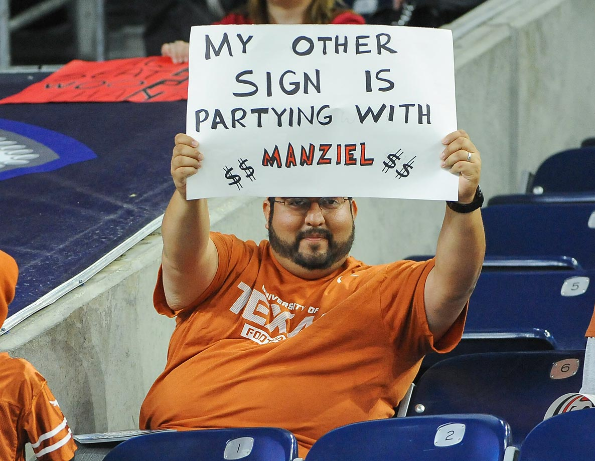 A Texas fan during a game against Arkansas in the AdvoCare V100 Texas Bowl.