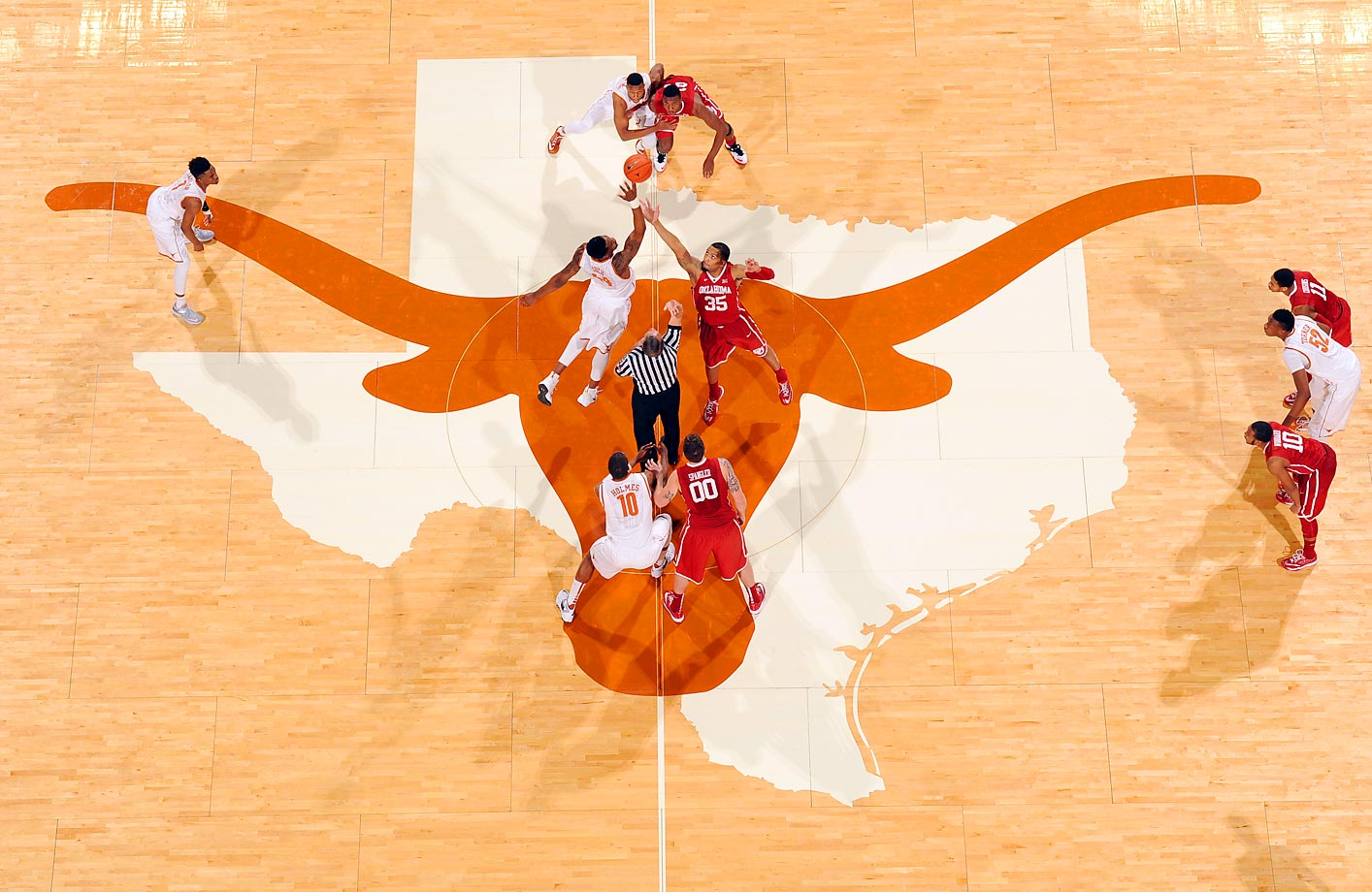 The University of Oklahoma and University of Texas tip-off to start their game in Austin.