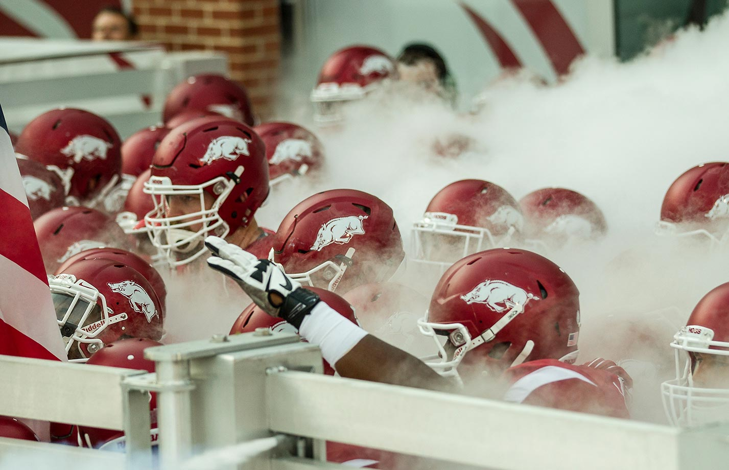 The Arkansas Razorbacks ready to enter the field before a game against the Texas Tech Red Raiders in Fayetteville.