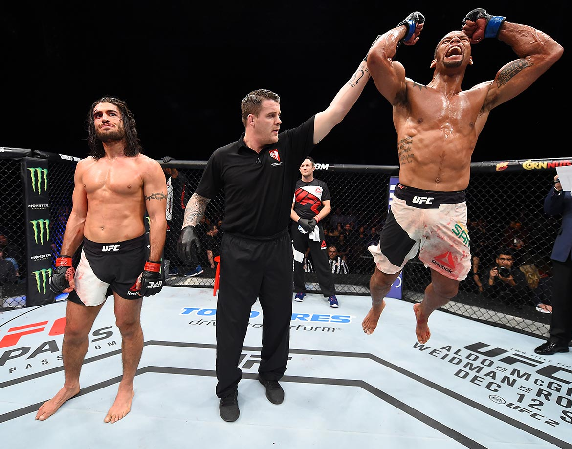 Thiago Santos celebrates his win over Elias Theodorou in their middleweight bout during UFC Fight Night.
