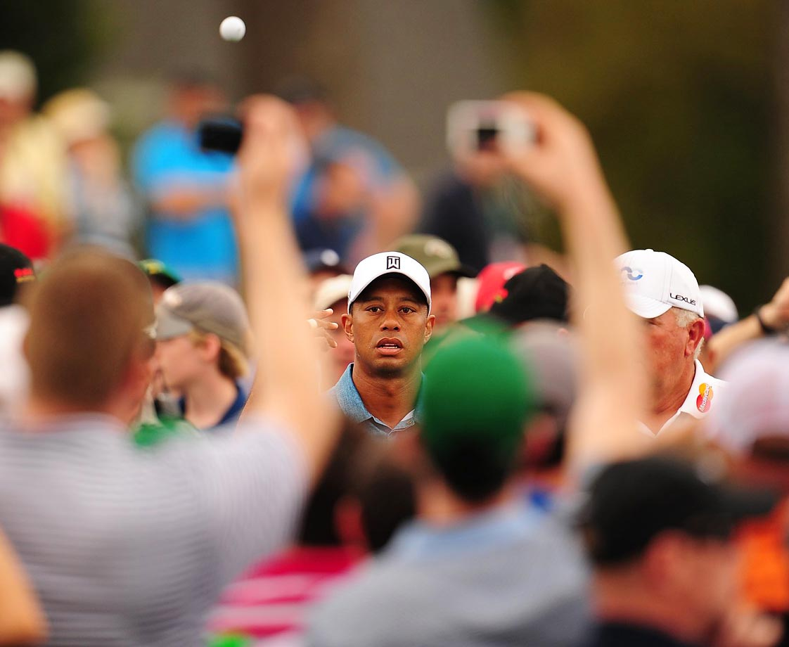 Tiger Woods on the 1st tee at Monday's practice round at the Masters.