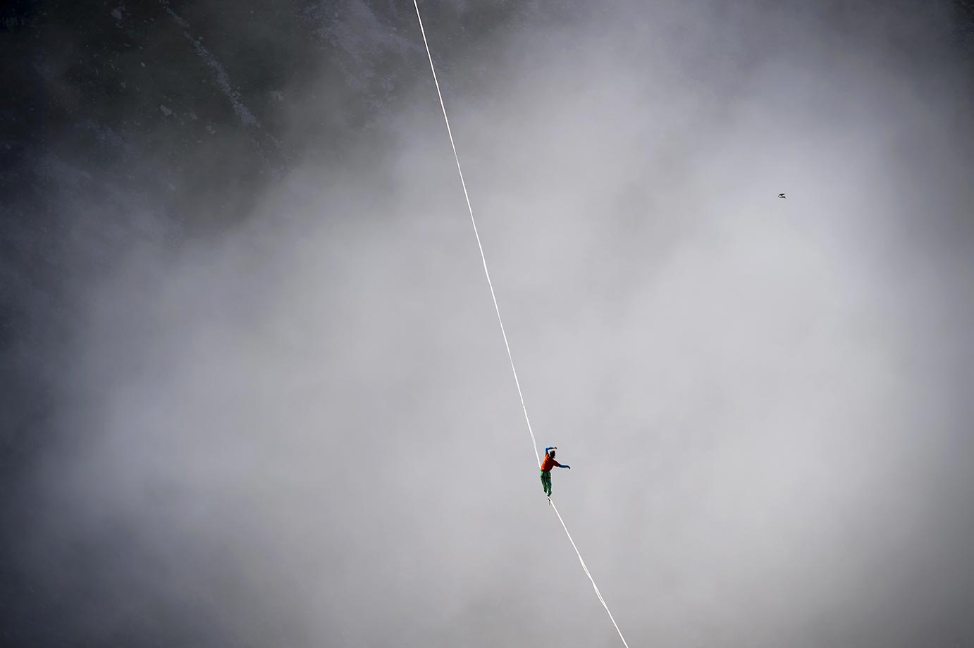 Samuel Volery walking the line during the Highline Extreme event in Moleson Peak, western Switzerland.