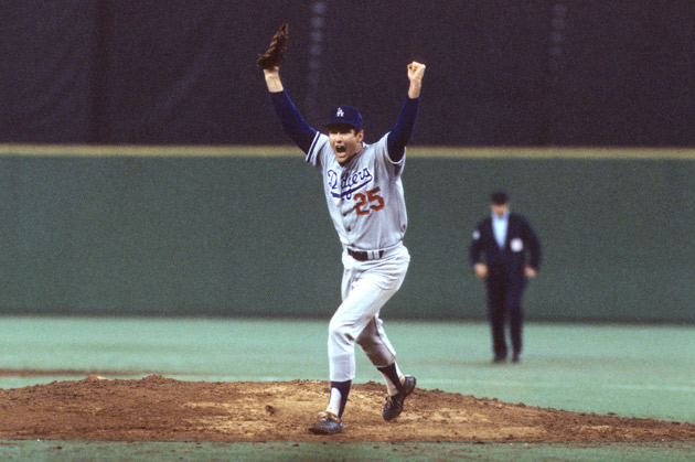 Dodgers pitcher Tommy John runs off the mound in celebration after winning Game 4 (and the series) in a National League Championship matchup against the Philadelphia Phillies in 1977, three years after undergoing surgery.