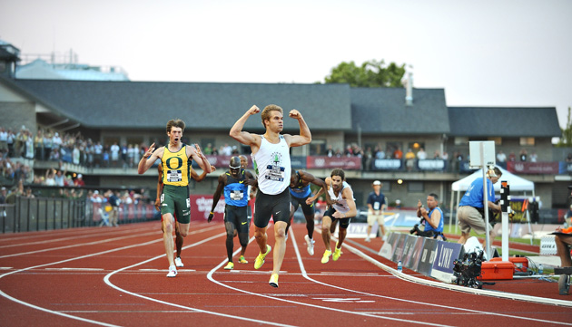 """Ducks in a Row"" -- At the 2008 Olympic Trials, the Hayward Field faithful, perhaps the most enthusiastic and knowledgable track and field fans anywhere, were rewarded with a hometown 1-2-3 in men's 800 meters. Oregon grad Nick Symmonds (arms in the air), running for the Oregon Track Club kicked past the field to win, followed by Duck sophomore Andrew Wheating and the diving Christian Smith, also running for the Oregon Track Club."