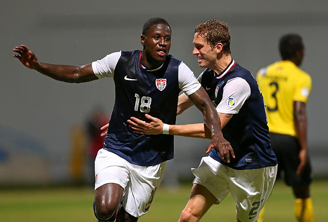 Eddie Johnson (18) celebrates a goal against host Antigua and Barbuda on Oct. 12, 2012. Johnson scored both U.S. goals, including the stoppage-time winner.