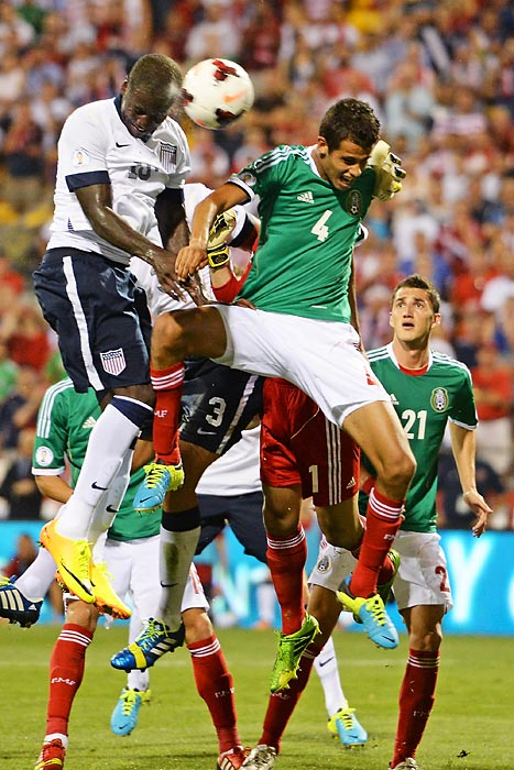 Eddie Johnson heads the ball past Diego Reyes of Mexico for the game-winning goal in the 49th-minute. Landon Donovan scored as well, as the U.S. won 2-0 (or as it has become customarily known: dos-a-cero) on Sept. 10, 2013, in Columbus, Ohio, clinching qualification for the 2014 World Cup later that night via Honduras' 2-2 draw with Panama. Johnson was recently left off Jurgen Klinsmann's World Cup roster.