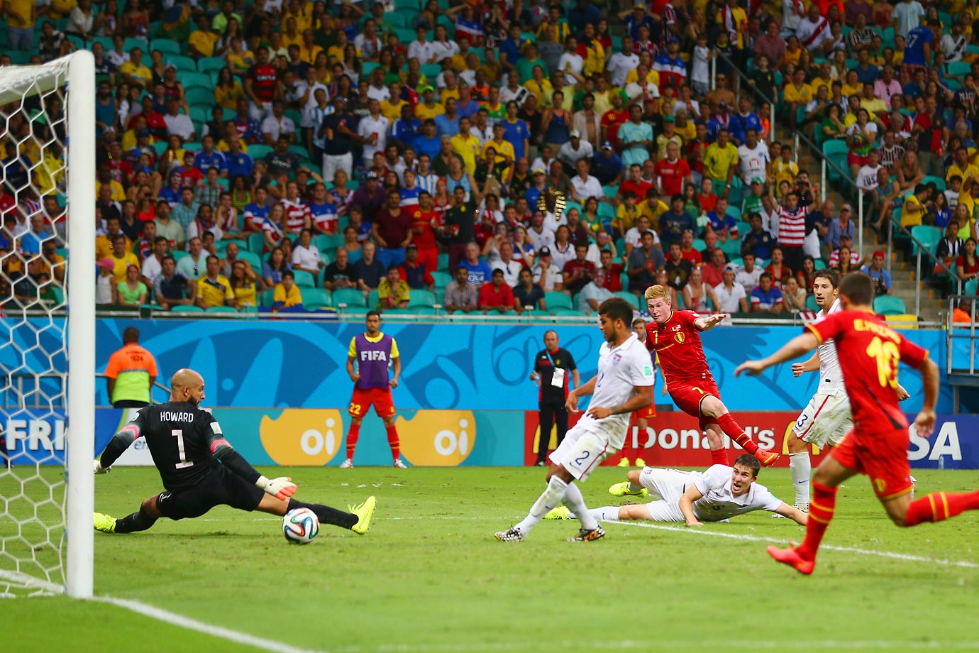 Belgian midfielder Kevin de Bruyne (#7) scores for his country in the first half of extra time, breaking the 0-0 deadlock.