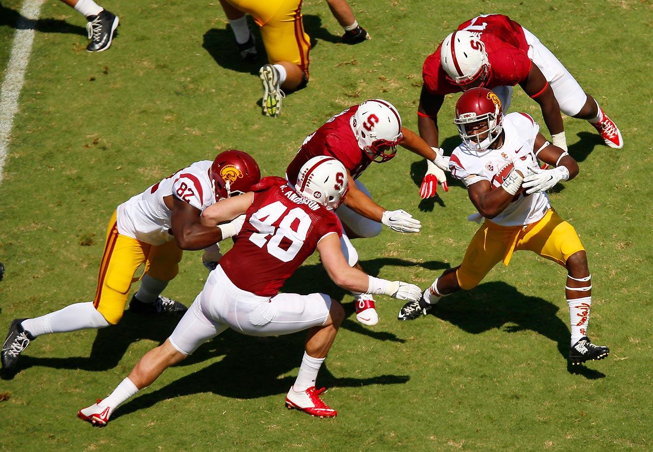 Javorius Allen escapes Stanford's defense on this run.  USC won 13-10.