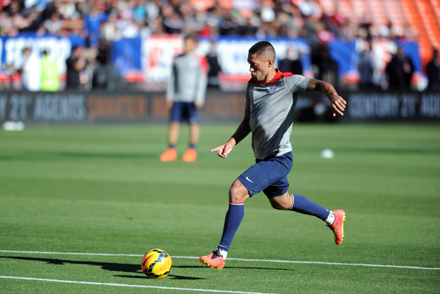 US Men's National Team captain Clint Dempsey takes a shot on goal during a practice session at Candlestick Park in San Francisco.