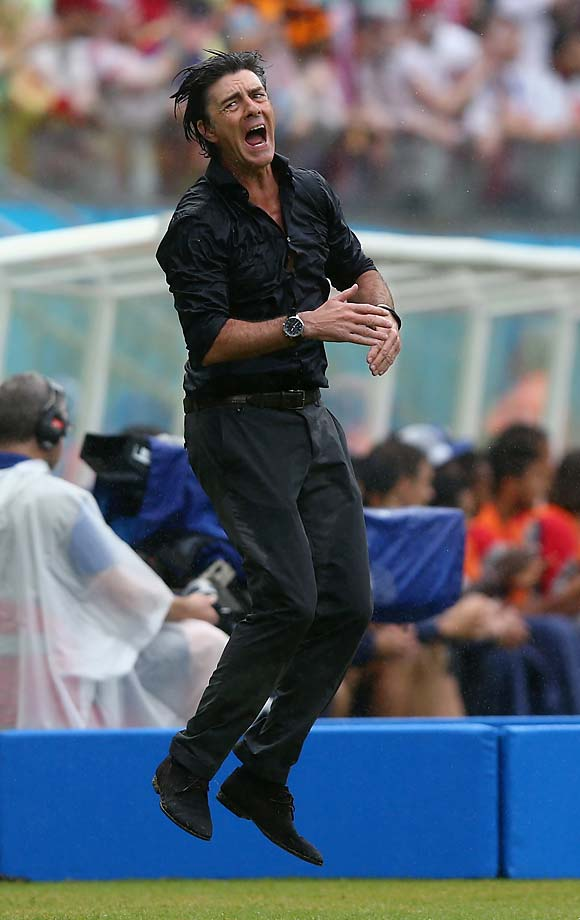 Head coach Joachim Loew of Germany shows his emotion.