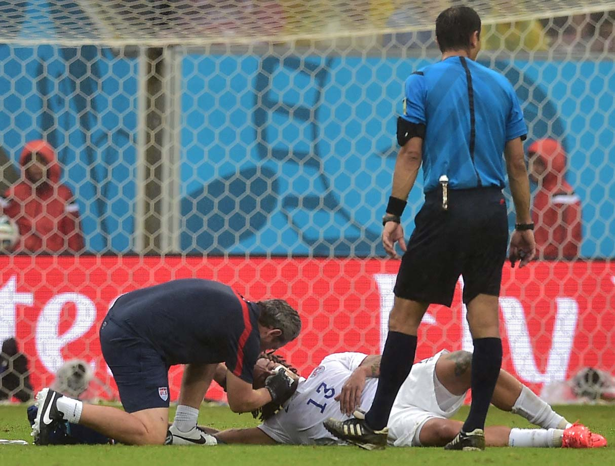 Jermaine Jones receives treatment after the collision.
