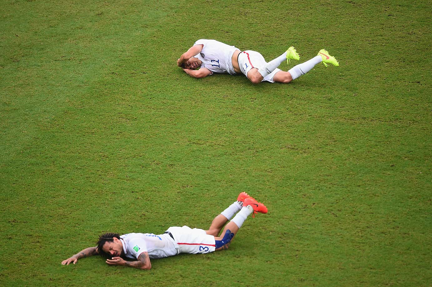 Jermaine Jones (front) and teammate Alejandro Bedoya collided violently in the match against Germany.