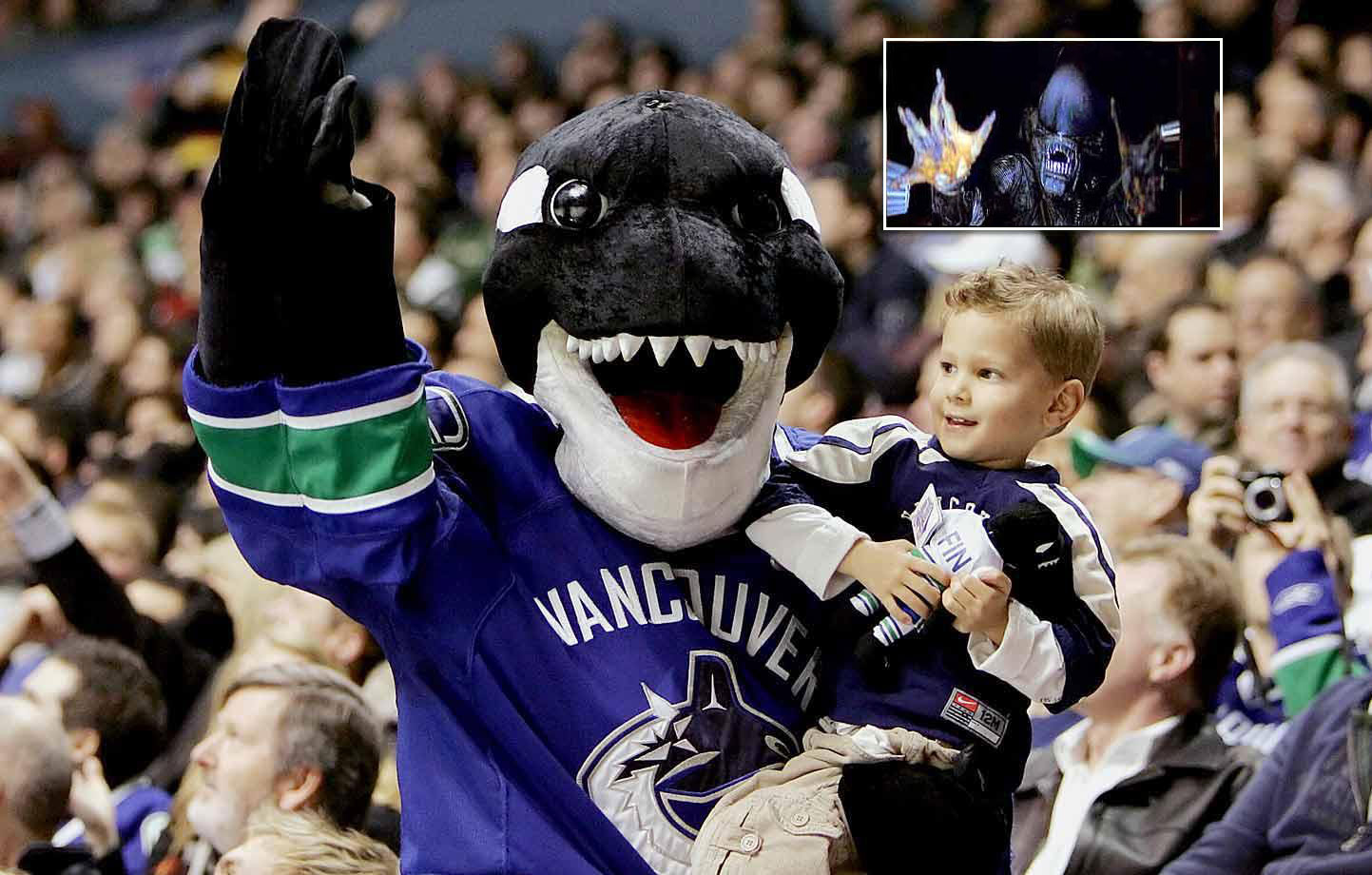 We get that he's supposed to be an orca like the one on the team's crest, but Fin's uncanny resemblance to the malevolent creature in the Alien movies is a bit unnerving. And he's often seen biting people's heads.