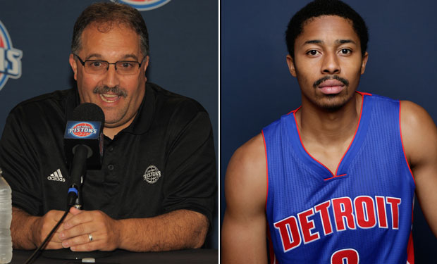 Stan Van Gundy and Spencer Dinwiddie :: Getty Images