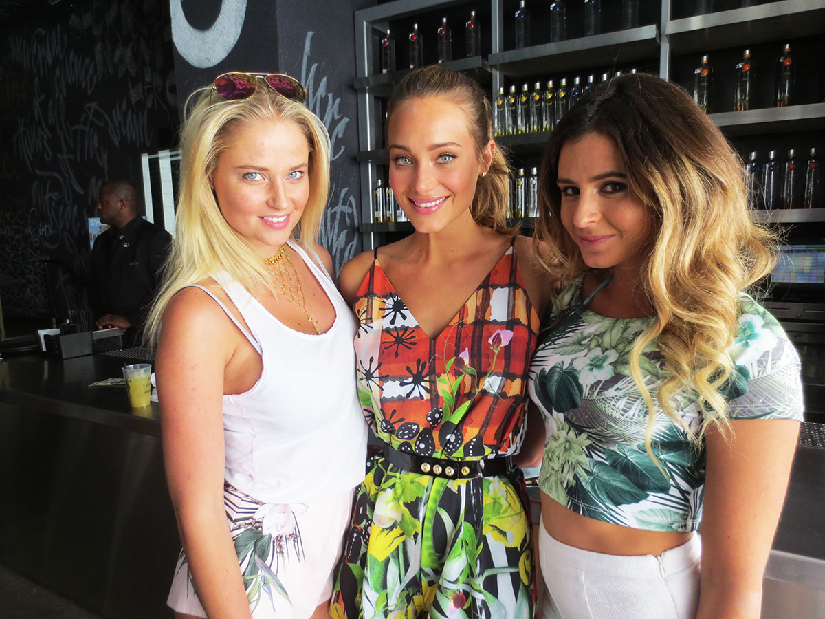 Genevieve Morton, Hannah Davis and Anastasia Ashley attend the Official Sports Illustrated Fight Weekend Party at the SLS Las Vegas Hotel & Casino.
