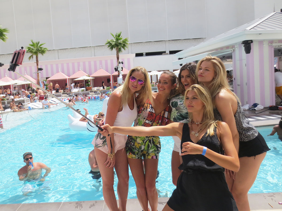 Genevieve Morton, Hannah Davis, Anastasia Ashley, Hailey Clauson and Kelly Rohrbach attend the Official Sports Illustrated Fight Weekend Party at the SLS Las Vegas Hotel & Casino.