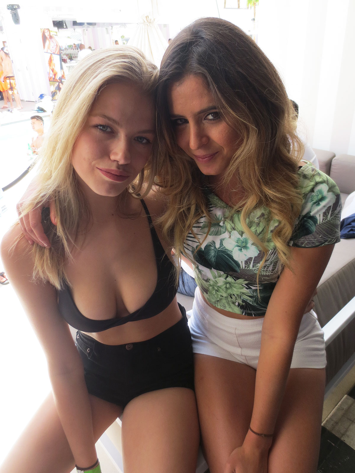 Hailey Clauson and Anastasia Ashley attend the Official Sports Illustrated Fight Weekend Party at the SLS Las Vegas Hotel & Casino.