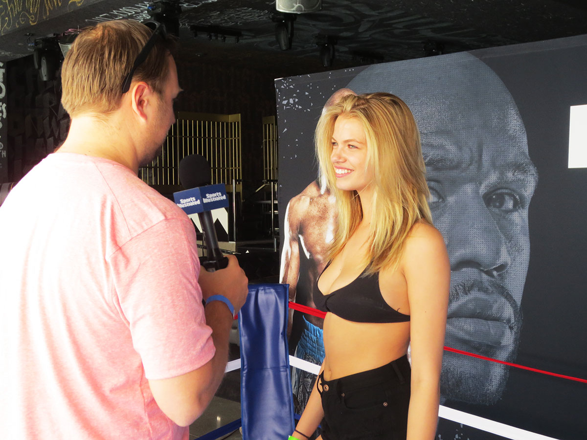 Hailey Clauson makes a pool party red carpet appearance on the Sports Illustrated Vegas Experience Show at the SLS Las Vegas Hotel & Casino.