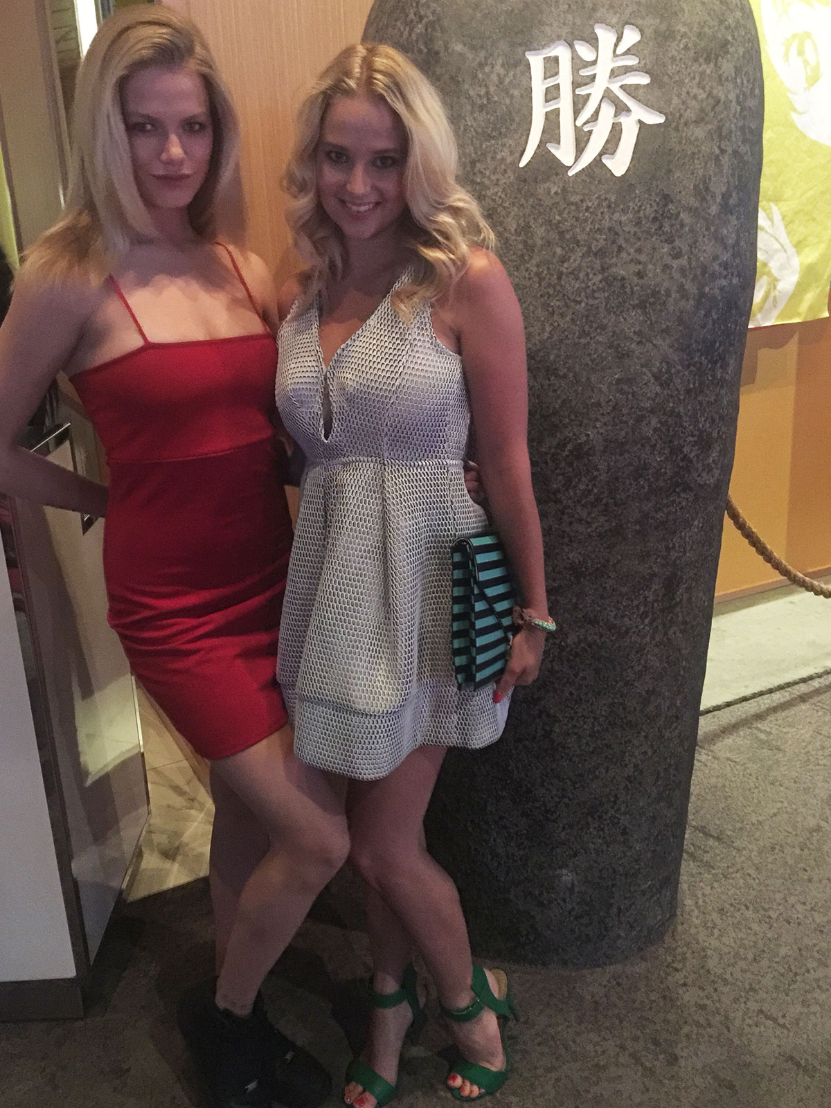 Hailey Clauson and Genevieve Morton attend a Sports Illustrated dinner at the SLS Las Vegas Hotel & Casino.