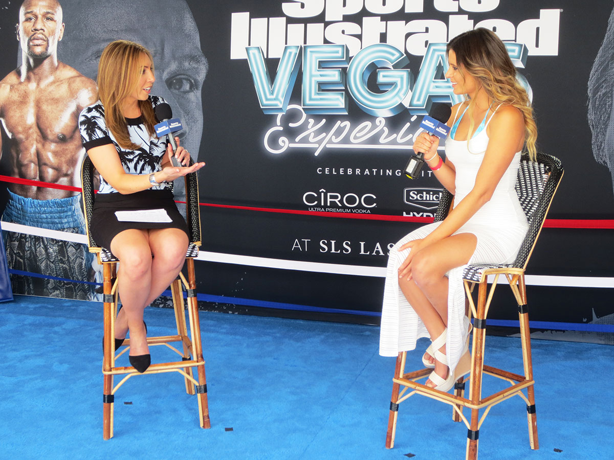SI's Maggie Gray and Anastasia Ashley talk on the Sports Illustrated Vegas Experience Show at the SLS Las Vegas Hotel & Casino.