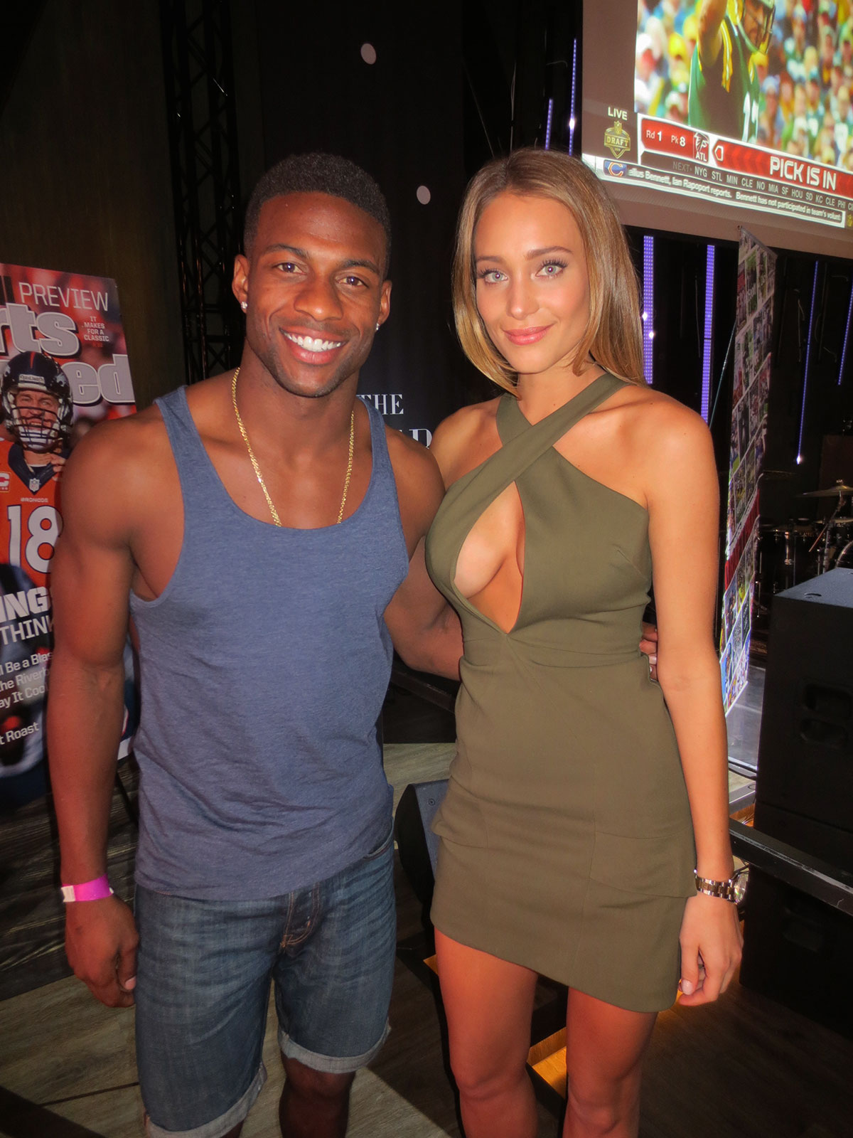 NFL player Emmanuel Sanders and Hannah Davis attend SI's Draft Day Viewing Party at The Sayers Club at SLS Las Vegas Hotel & Casino.