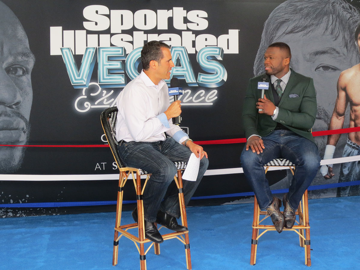 SI's Seth Davis and rapper 50 Cent talk on the Sports Illustrated Vegas Experience Show at the SLS Las Vegas Hotel & Casino.