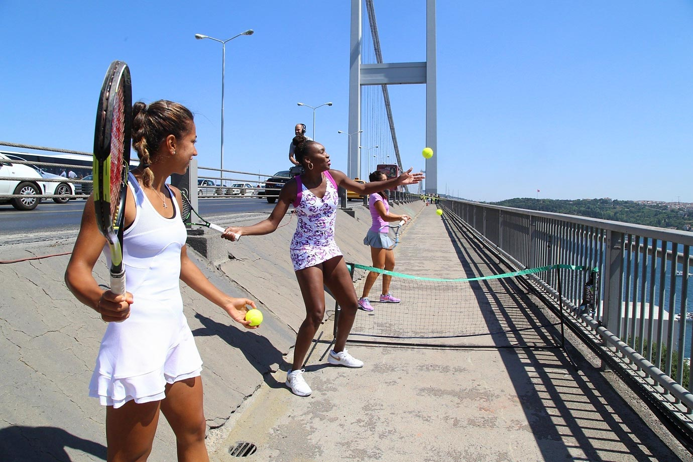 Venus Williams, Ipek Soylu (right) and Cagla Buyukakcay (left) on the Bosphorus Bridge in Istanbul, Turkey, while in town for the TEB BNP Paribas Istanbul Cup tournament.