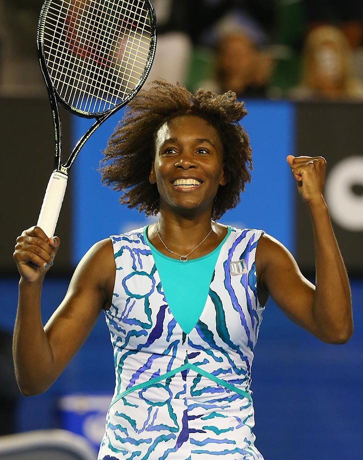 Williams celebrates beating Agnieszka Radwanska 6-3, 2-6, 6-1 in the fourth round of the 2015 Australian Open. While Williams then lost in the quarterfinals, it was her best finish in years.