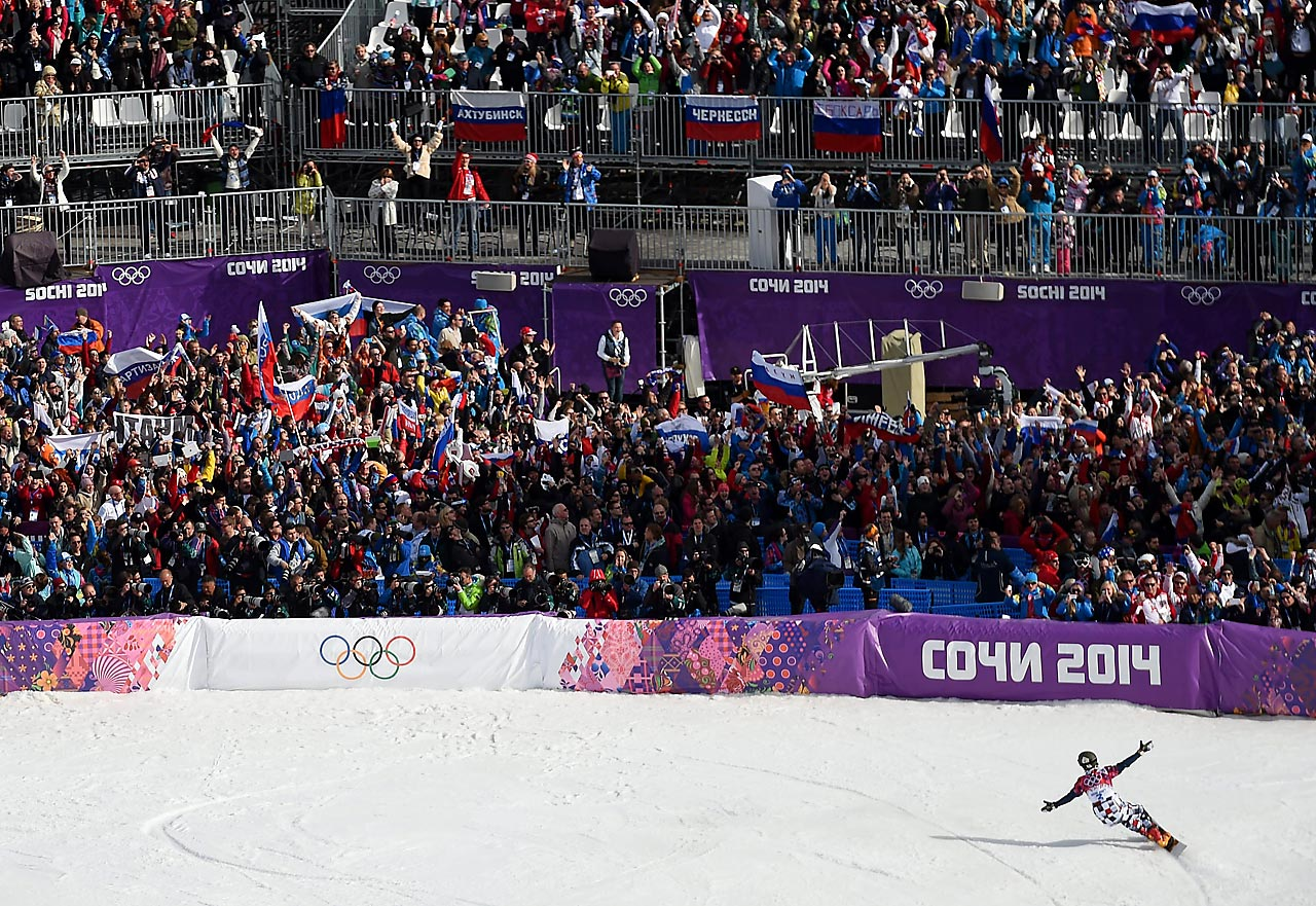 Vic Wild of Russia celebrates winning the gold in Parallel Slalom.