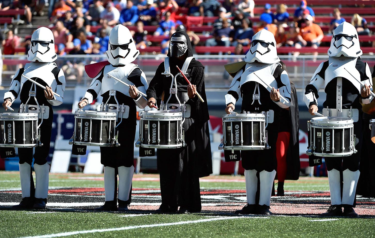 The UNLV Rebels marching band dressed up in Star Wars costumes at a game against Boise State.