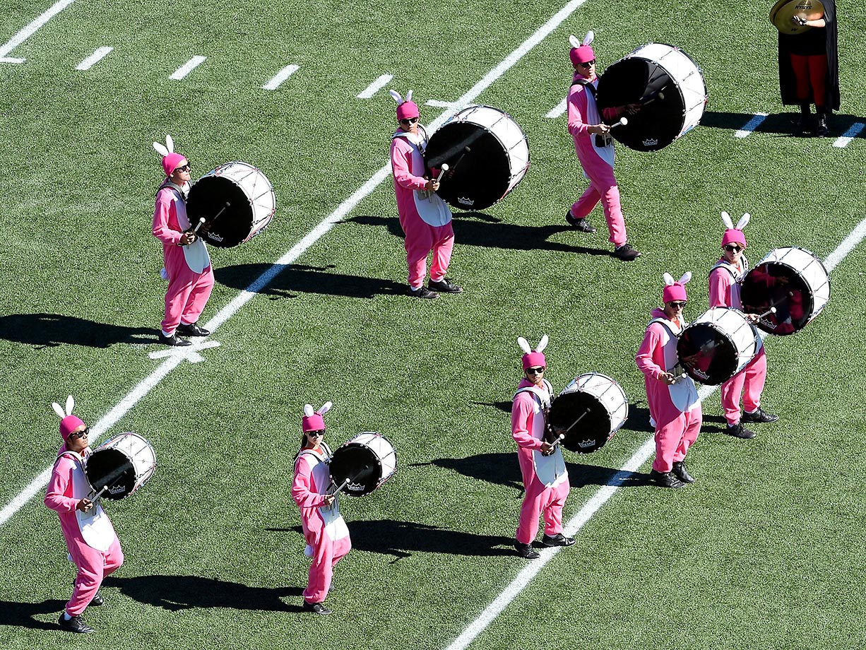 The UNLV marching band dressed up for Halloween.
