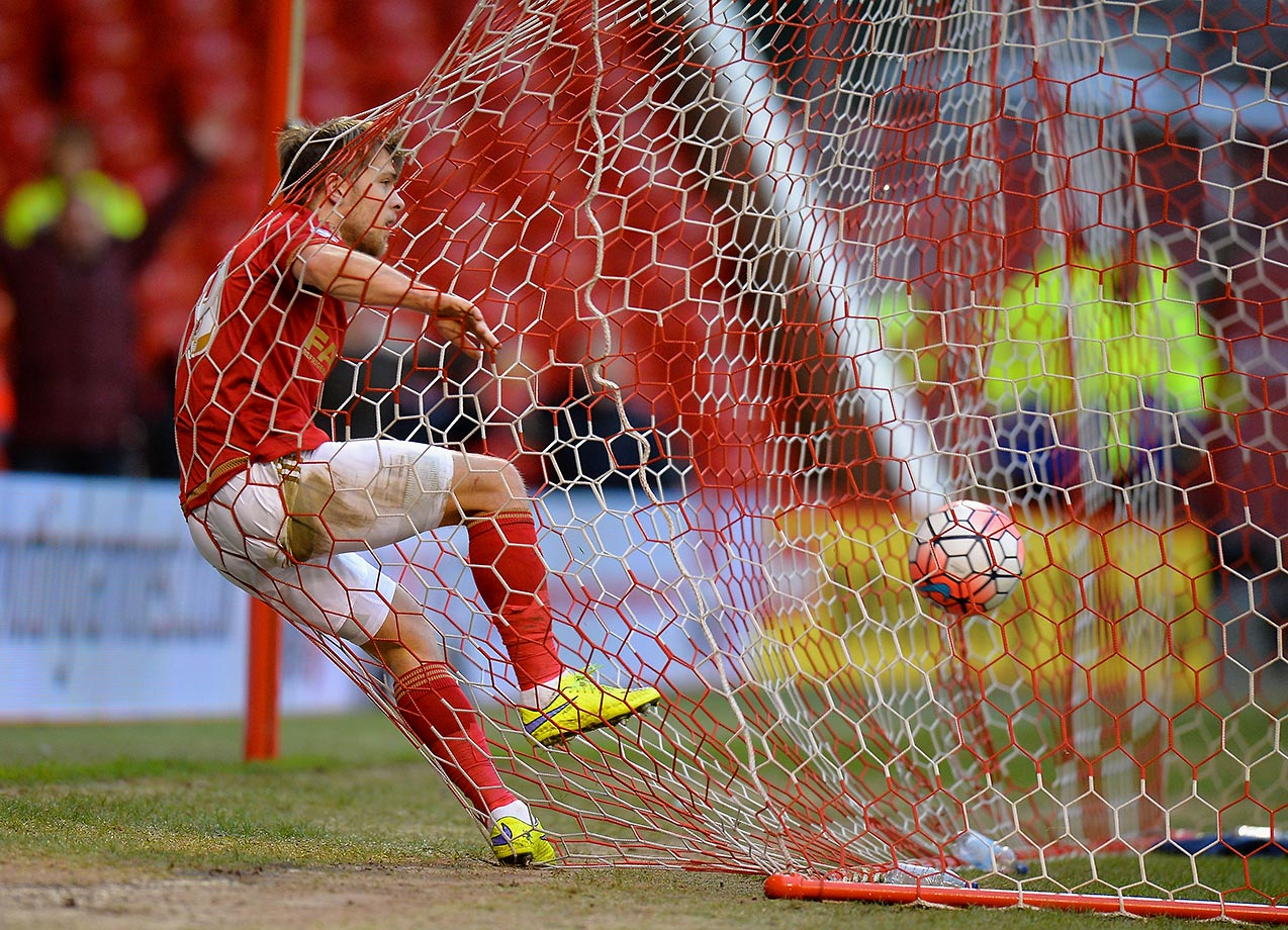 Jamie Ward of Nottingham Forest celebrates scoring during the Emirates FA Cup third round.