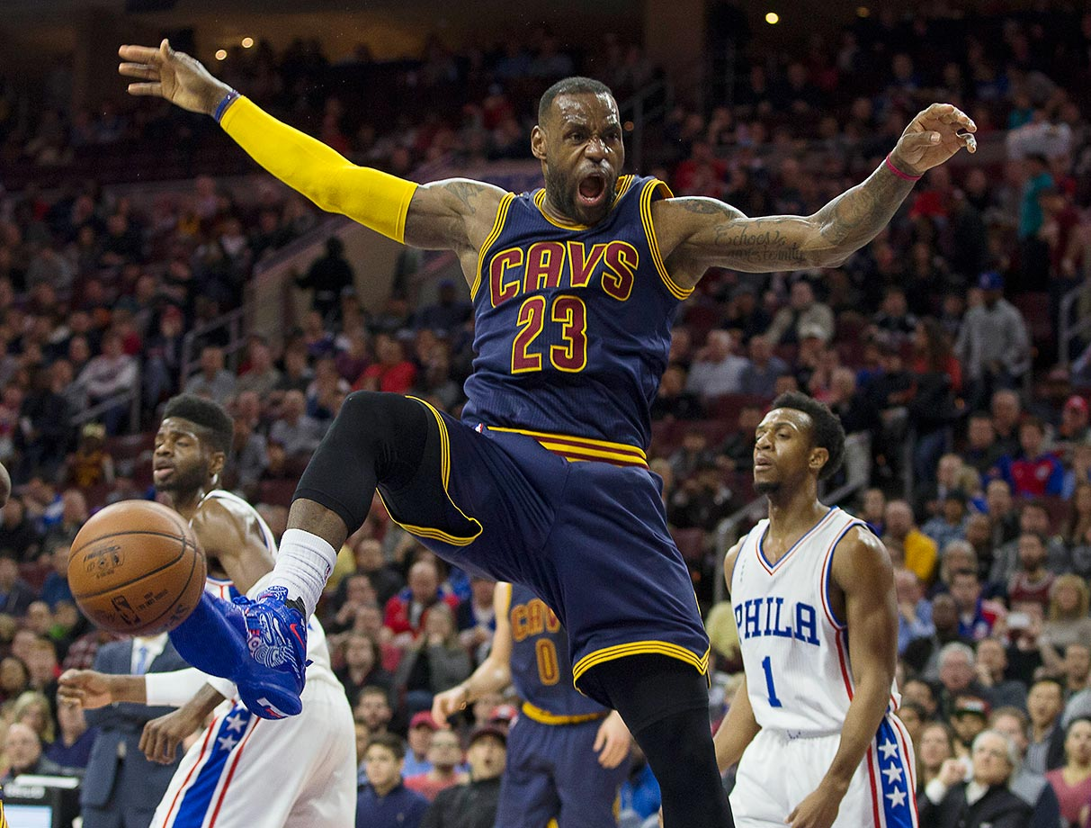 LeBron James of the Cleveland Cavaliers after dunking against the Philadelphia 76ers.