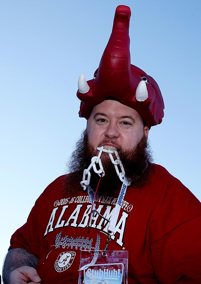 Alabama Crimson Tide fan Jay Hendricks poses before the national championship game.