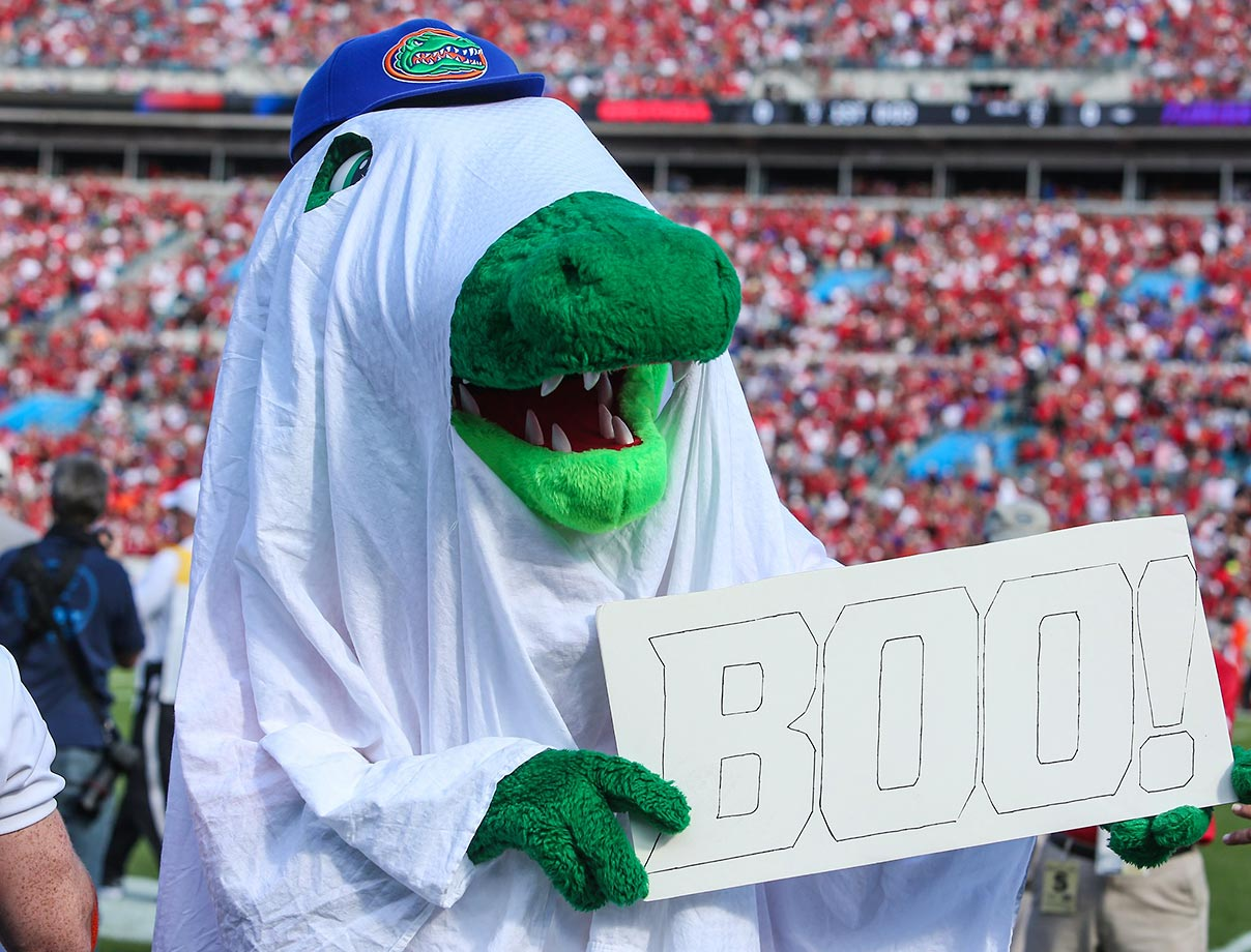 Florida Gators mascot Albert gets in the Halloween spirit.