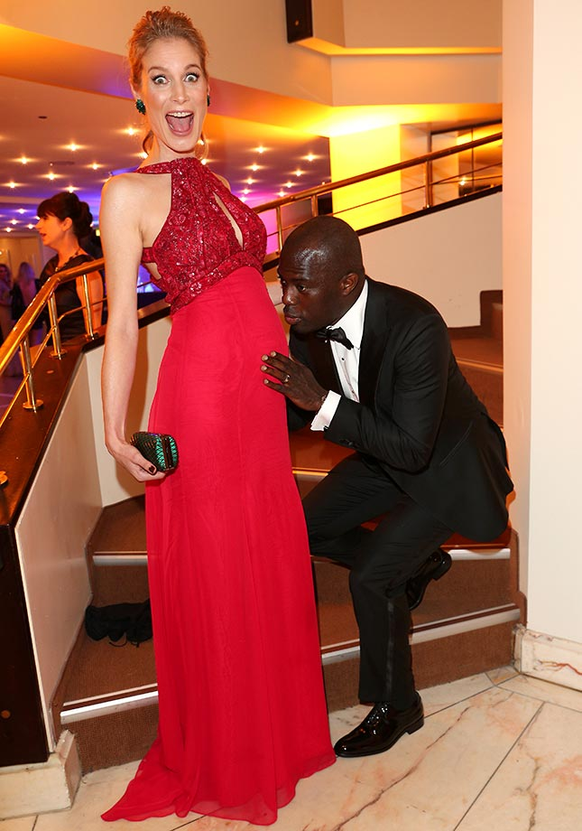 Retired soccer player Hans Sarpei and his wife, Pia, during the German Sports Media Ball in Frankfurt.