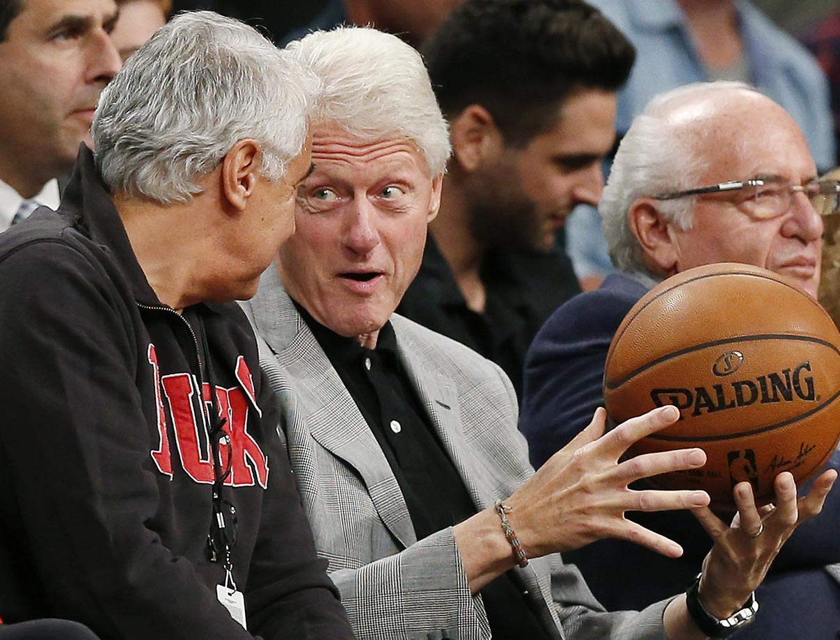 Bill Clinton with Milwaukee Bucks owner Marc Lasry.