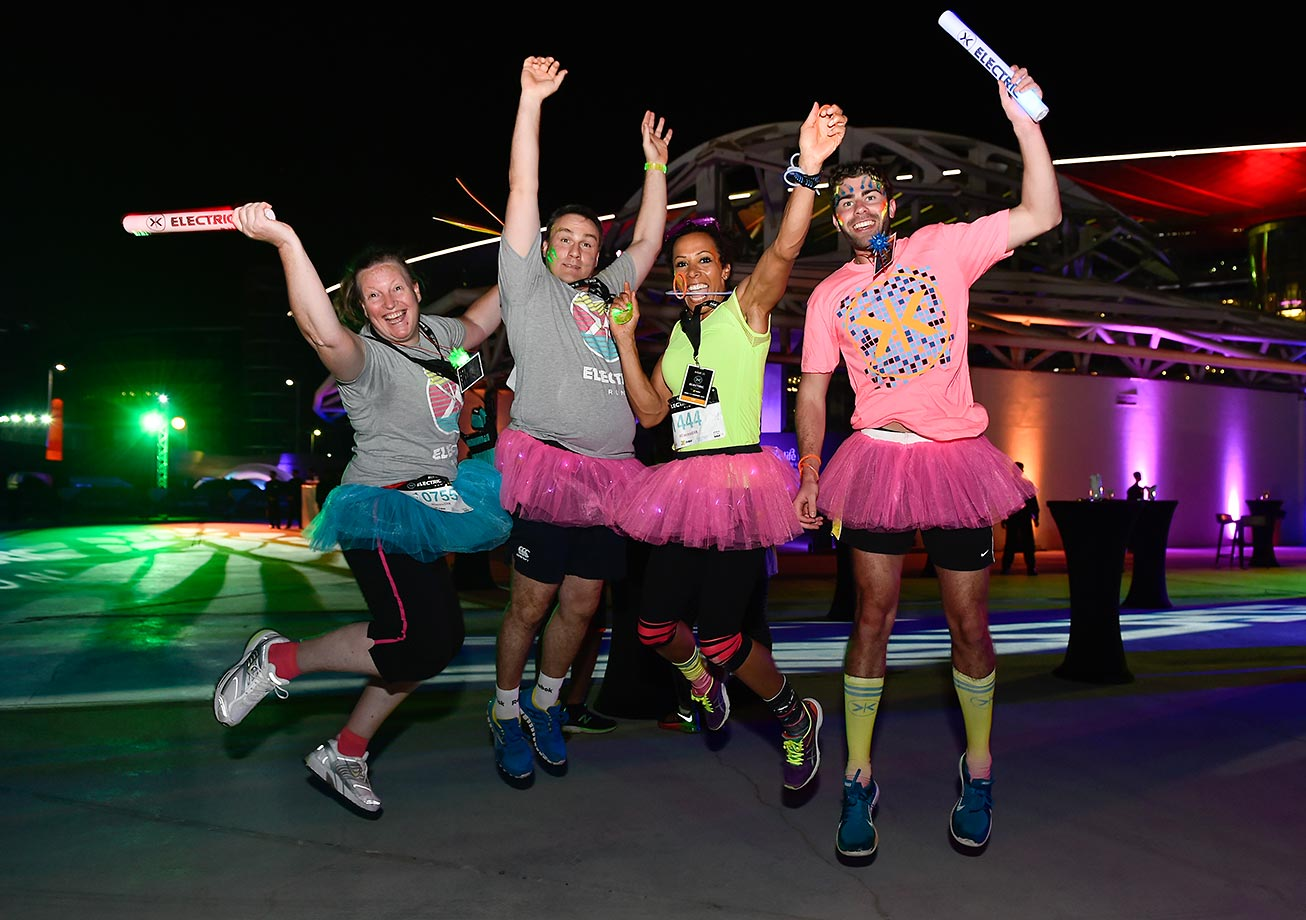 Kelly Homes and Andy Phillips take part in the first Daman's ActiveLife Electric Run.