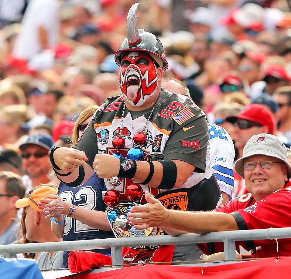 Buccaneers Fan Keith Kunzig attempts to motivate the team at a game against the Cowboys.
