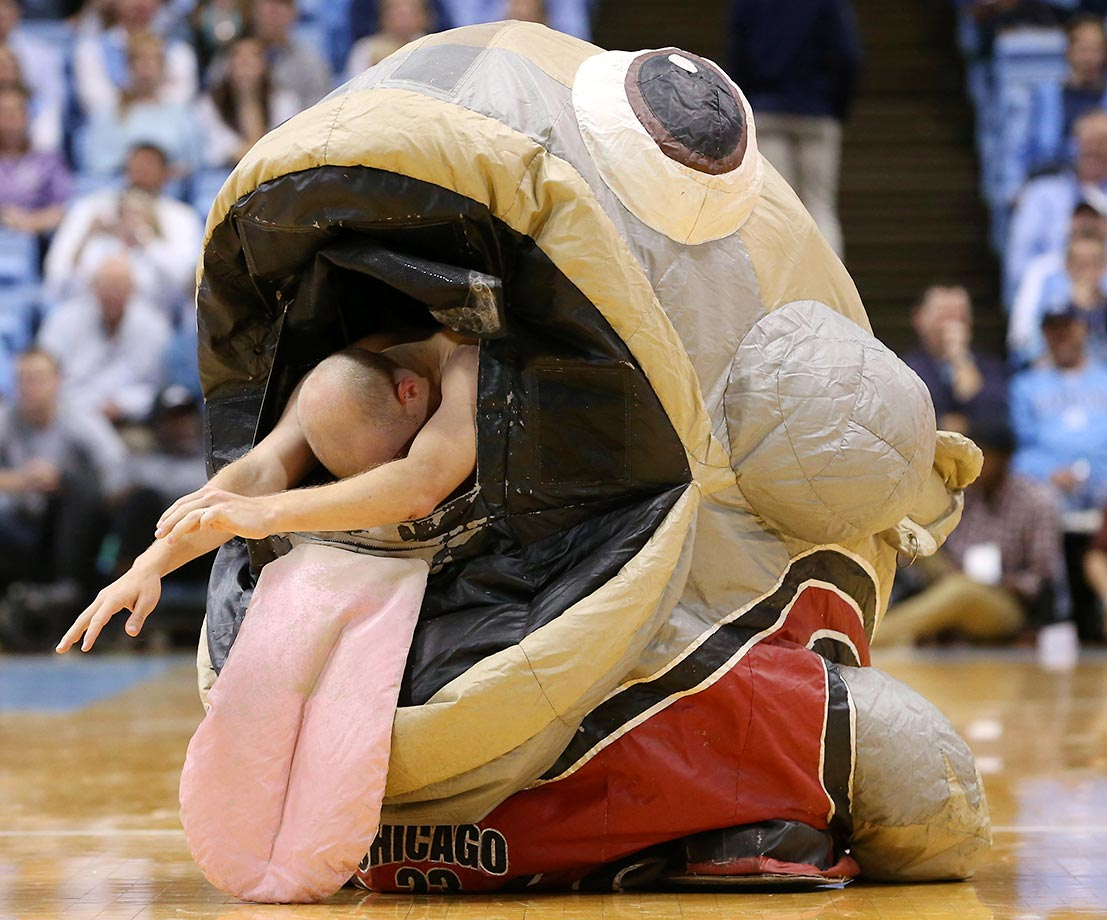 Zooperstar entertainer Mackarel Jordan spits out another entertainer who had posed as a basketball coach. The University of North Carolina Tar Heels defeated the Fairfield University Stags at the Dean E. Smith Center in Chapel Hill, 92-65.