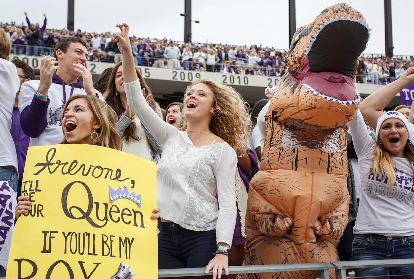 TCU Horned Frogs fans get a little crazy at a game against Kansas.