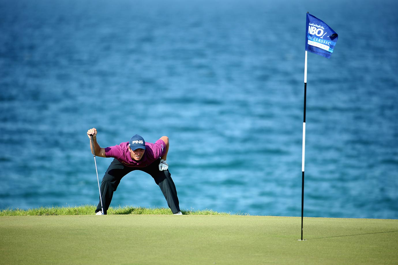 Callum Shinkwin lines up a putt on the 18th green during the second round of the NBO Golf Classic Grand Final.