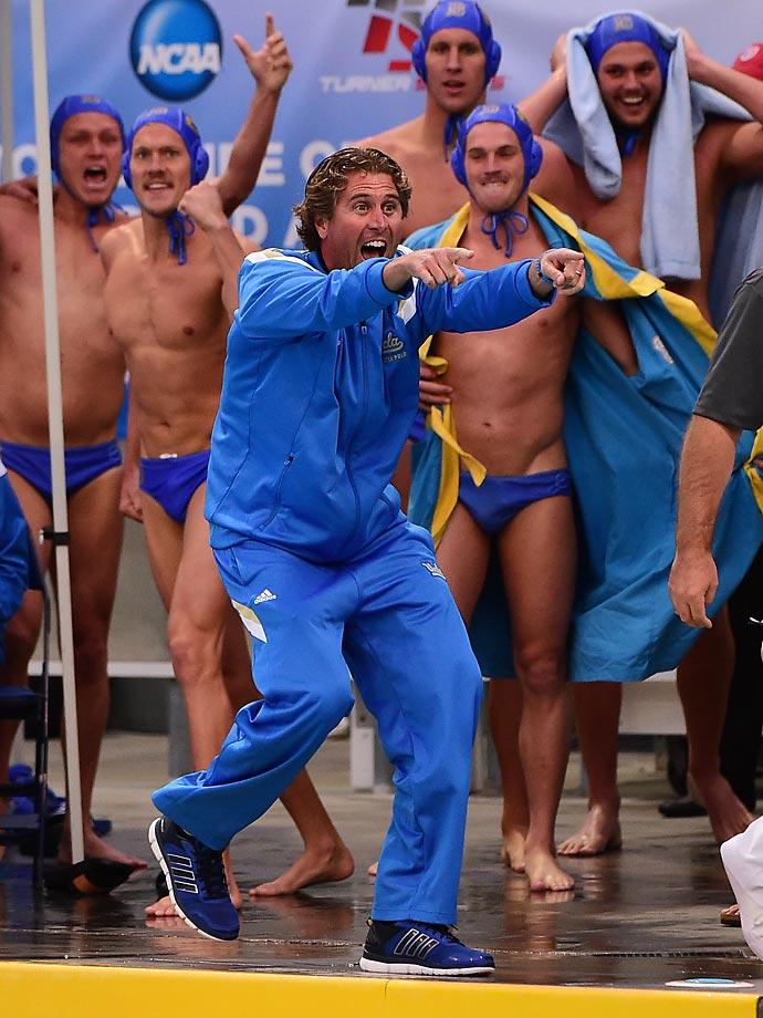 UCLA head coach Adam Wright celebrates the victory.