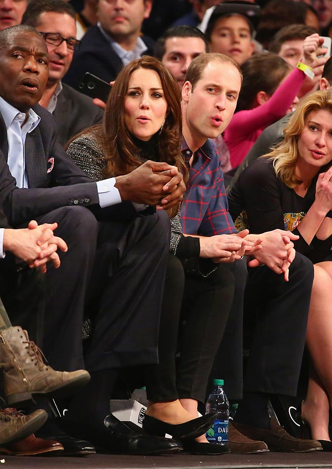 Prince William, Duke of Cambridge, and Catherine, Duchess of Cambridge, watch the Cavaliers play the Nets at Barclays Center.