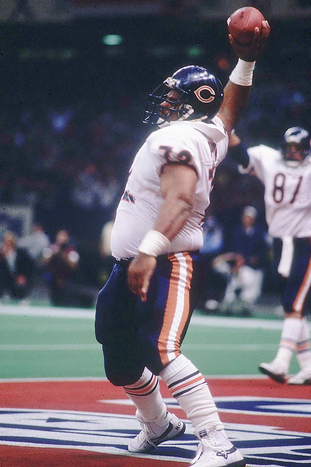 """""""The Fridge"""" scored three touchdowns during the 1985 regular season, including two one-yard rushing touchdowns and one four-yard touchdown catch. But his most famous score came in Super Bowl XX, in which he plowed into the end zone for a one-yard touchdown in a 46-10 Chicago Bears blowout victory over the Patriots."""