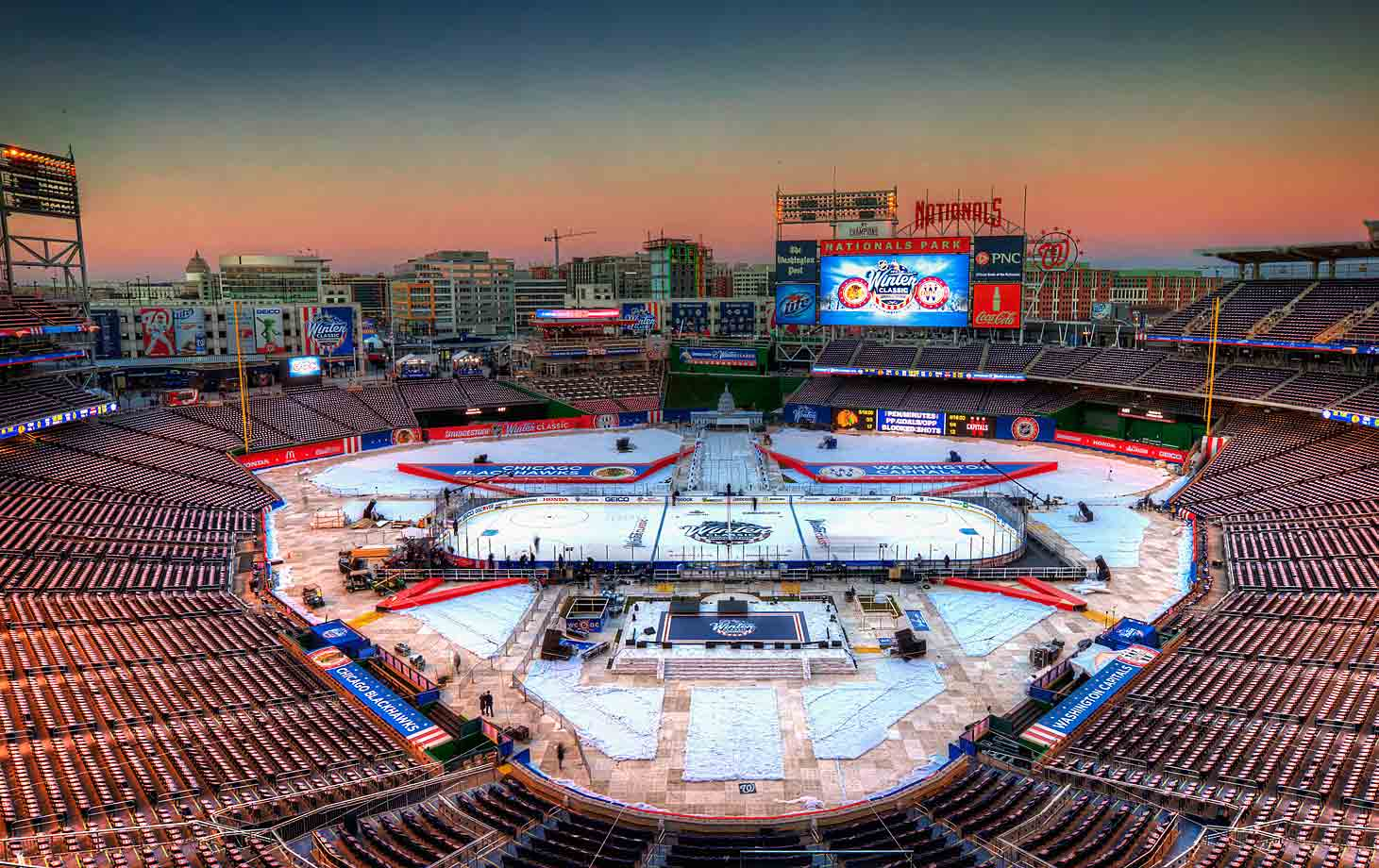 The 2015 edition was awarded to Nationals Park in Washington D.C. with the Capitals hosting the Chicago Blackhawks.