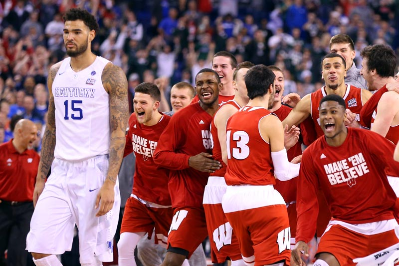 2015: No. 1 Wisconsin beats undefeated No. 1 Kentucky 71-64 in a national semifinal.