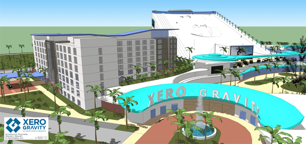 Renderings of Xero Gravity's proposed action sports complex.