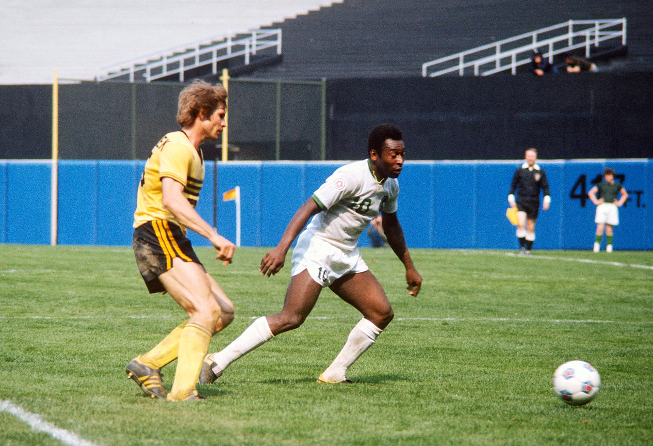 Pele, while playing with the Cosmos in the 1970's, played in Yankee Stadium.